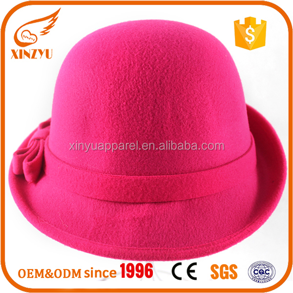 Women lady wool felt calotte cloche bowler fedora hat with bowknot