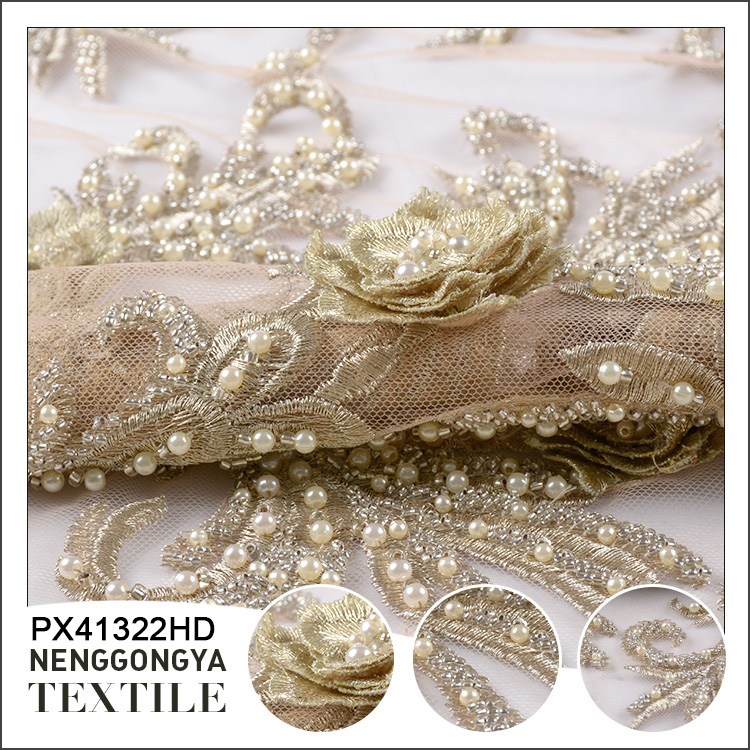 Oem polyester embroidery crystal beaded gold lace fabric for dress