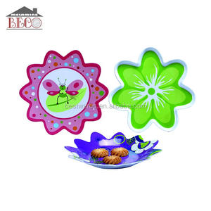 Cheap food safe plastic melamine flower shaped dinner plate