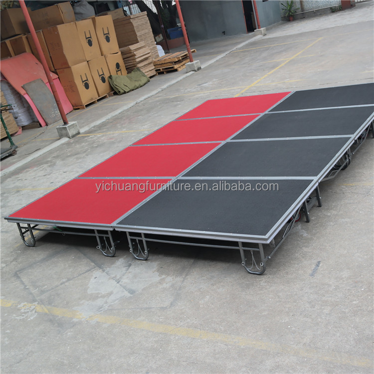 Wholesale red or black foldable and removable and adjustable <strong>stage</strong>