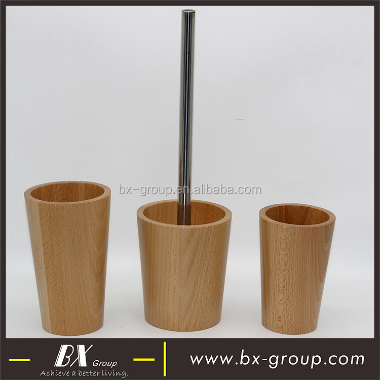 BX Group round shape simply wood bathroom accessories set with tumbler tooth brush holder