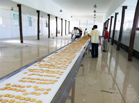 Pneumatic tension device and belt automatic aligning cooling conveyor of cookies making machine