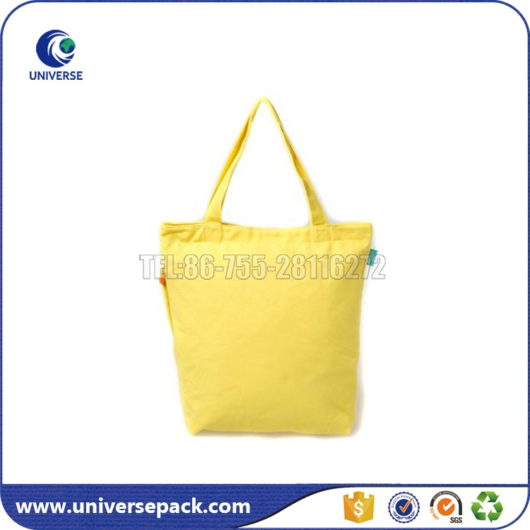 Custom Blank Yellow Zippered Canvas Tote Bags For Beach