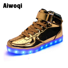 2016 new fashion LED shoes light up flashing light sport unisex shoes silver gold high top led simulation sneaker
