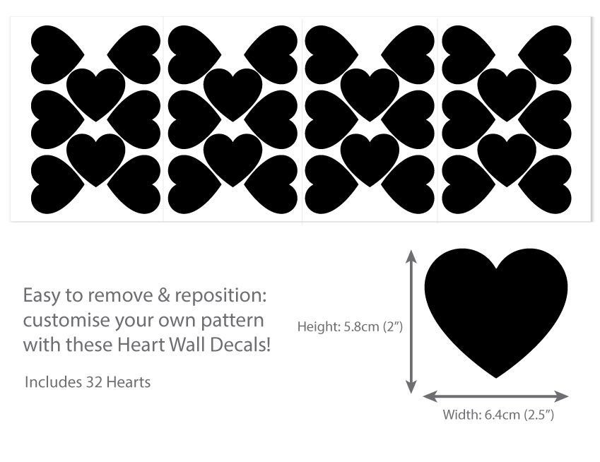 Heart Wall Decals Wall Stickers For Nursery - Lots Of Colours