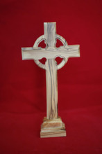 olive wood standing Celtic cross