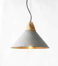 Vintage Cement Pendant Light,Modern Countryside Wooden Shaped Concrete Hanging Lamp