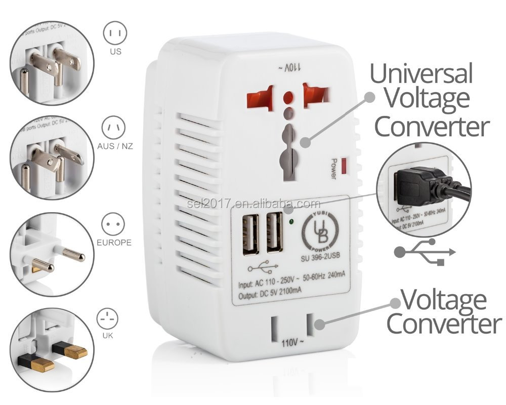 680W high wattage USB Travel AC to AC converter from 220V~ to 110V~