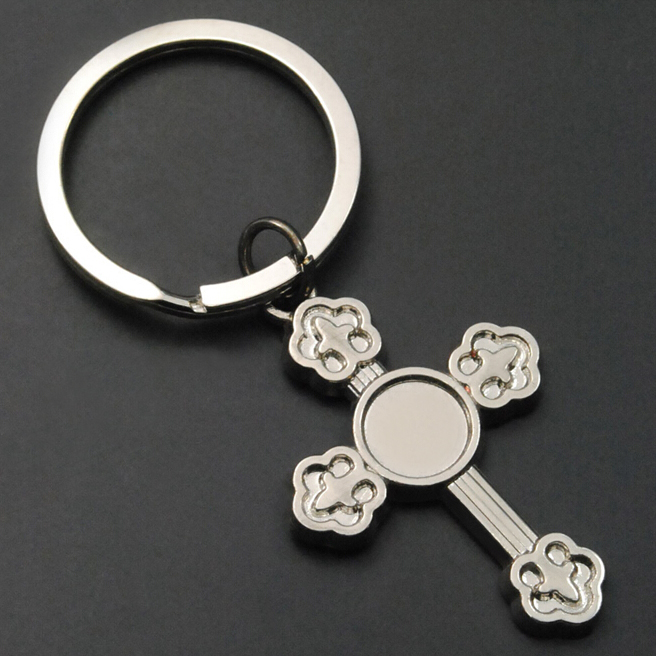 3D die casting engraving metal souvenir religious keychain,Nickel plated zinc alloy cross crucifix key chain ring tag ornaments