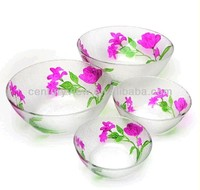 wholesale new round clear rose hand painted glass bowl
