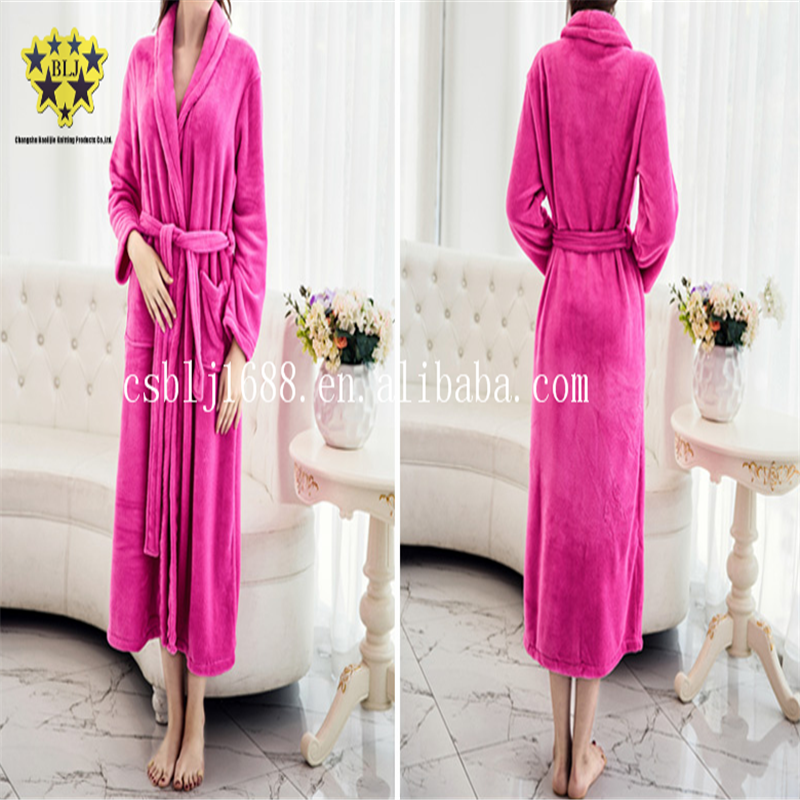 Rose Red Color Microfiber Coral Fleece Fabric Sexy Pajamas Sleep Wear Robes For Modern Women