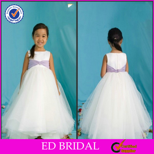 Hot Sale Purple Sash Puffy White Ball Gown Dresses For Kids
