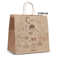NPRT-03 Shopping Kraft paper bag new design for retail with twisted flat paper handle