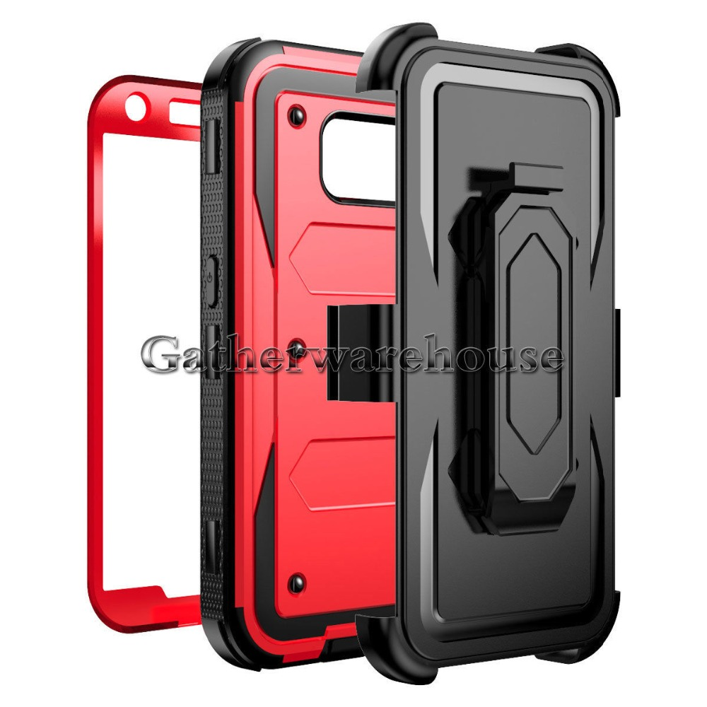 Shockproof defender hybrid hard back protective case cover for iphone 7 with belt clip