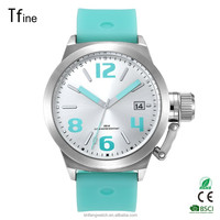 Top Branded Custom Military Green silicon Strap Big Size Sport Watch with Quick Date Feature