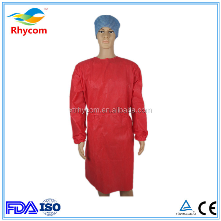25gsm water resistant antistatic SMS disposable isolation gown
