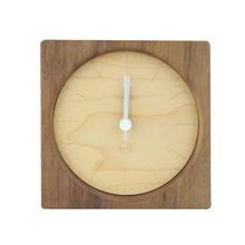 Natural small modern wood clock table clock Desk Clock Free Logo