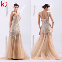 Luxury Heavy Beading Wedding Dress Gold Color Evening Dress