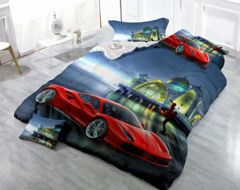 Wholesale 3D Race Car Printed 100% Polyester Bedding Set