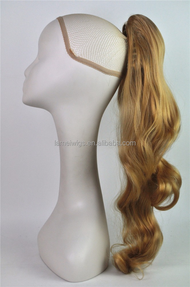 Long curly hair wig pony tail female N002