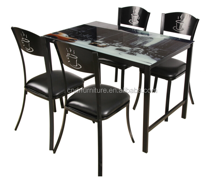 Tempered glass dining table top and chairs 1+4
