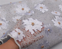 Latest Fashion Dubai African Embroidery Dress Tulle Lace beaded French Net Lace Fabric for Wedding