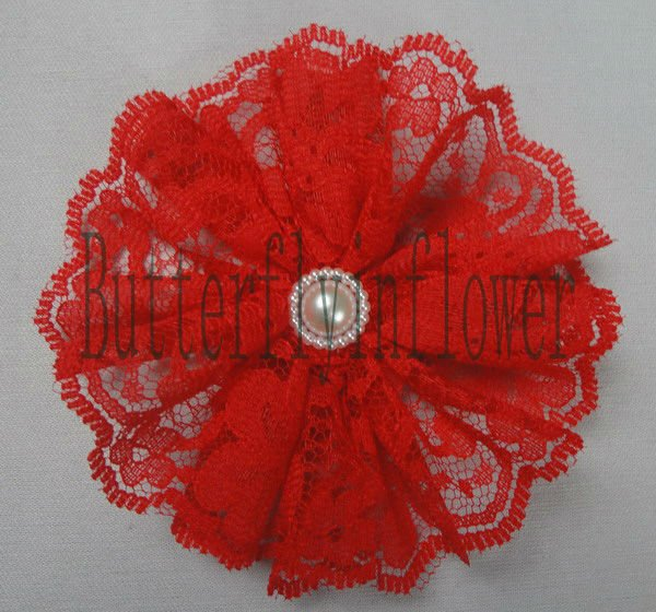 HOT!wholesale wedding decoration red vintage pearl decoration lace flowers