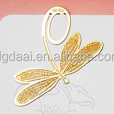 hot sale wholesaler cheap dragonfly gold plated bookmark