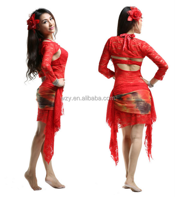 3pcs Lace Belly Dancing latin ballroom competition dress