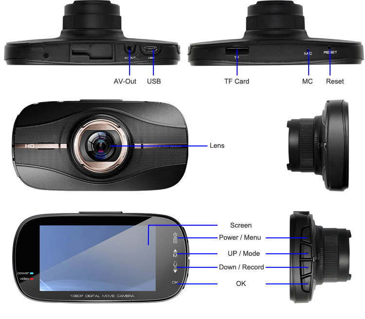 ZXS-C2 1080P HD CAR DVR G-sensor IR Night Vision Vehicle Video Camera Recorder Dash Cam