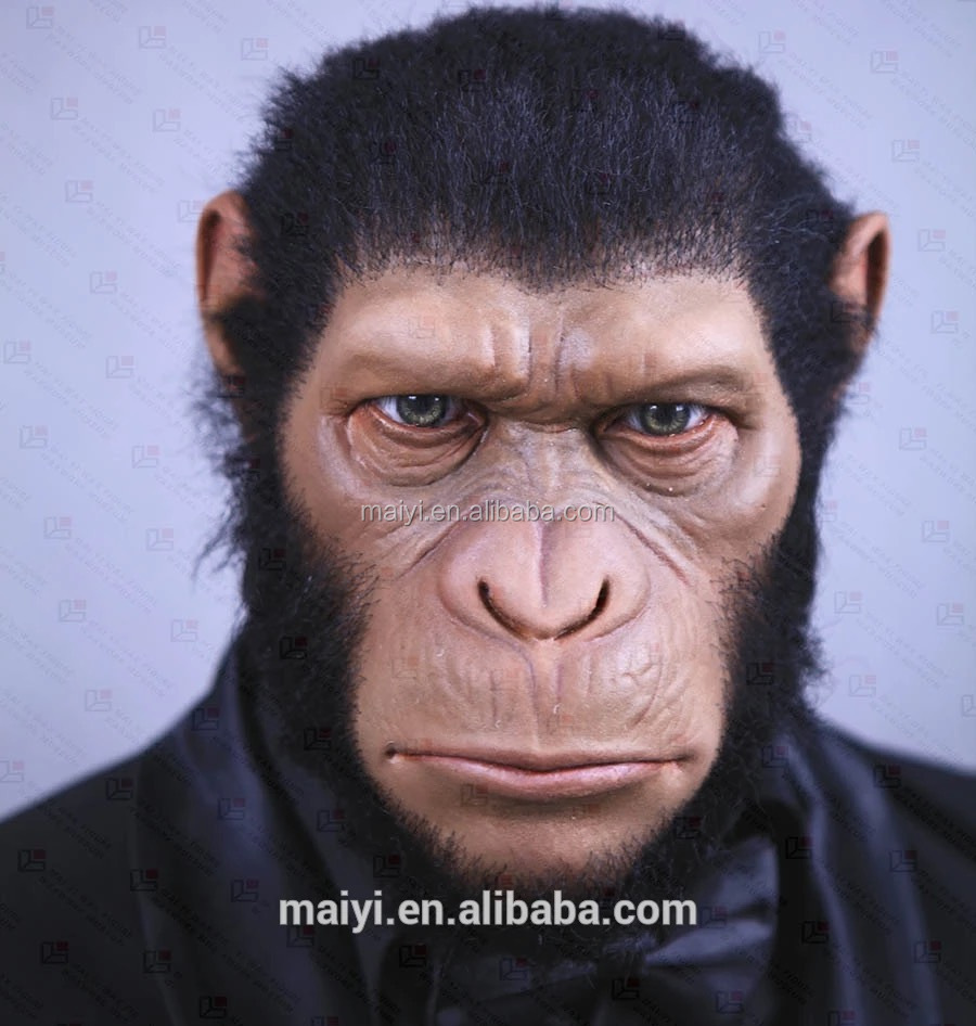 Realistic wax waxwork or silicone sculpture of lovely smart monkey Gorilla Caesar for sale