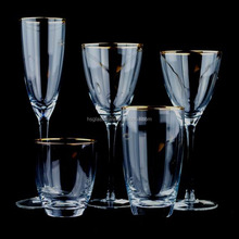 Top Selling Hand Blown Wedding Glasses Gold Rimmed Glassware