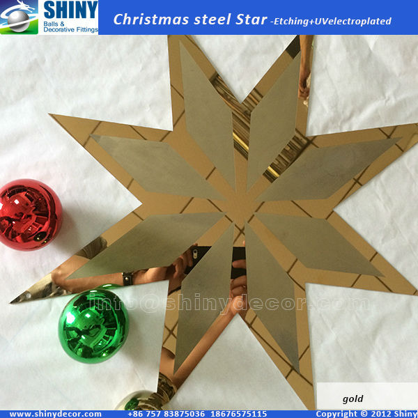 Etched Christmas steel star with gold finished