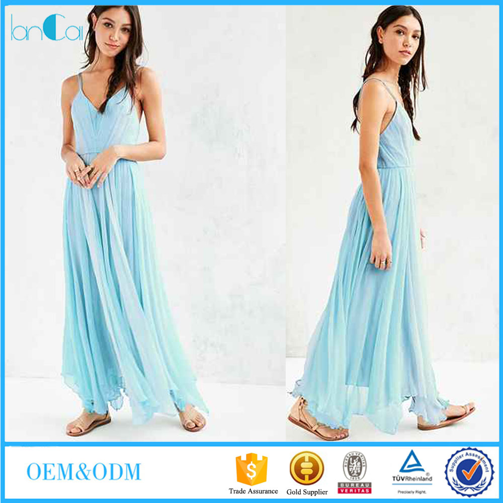 Latest Design Elegant Women Blue Waterfall Strap Chiffon Party Maxi Dress