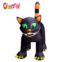 Large Inflatable Animated Black Cat toy Halloween Yard Decor