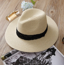 Custom fashion summer floppy foldable wide brim paper panama straw fedora beach sun women man hat in China