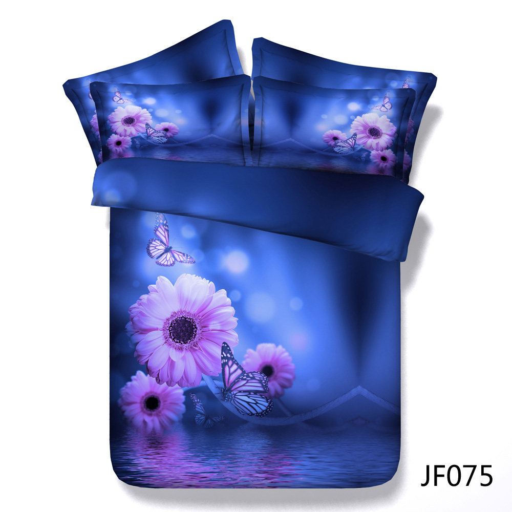 Beautiful Butterfly and Soft Pink Daisies 3d printing Bedding