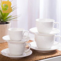 hot sale factory directly ceramic 150ml 250ml white smooth cafe shop coffee cup set