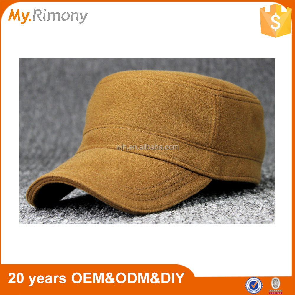 plain worsted wool cap flat-top army hat from factory hot sale on amazon
