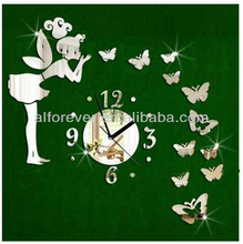 Alforever DIY Angel Girl and butterfly Mirror Wall Clock for room decoration