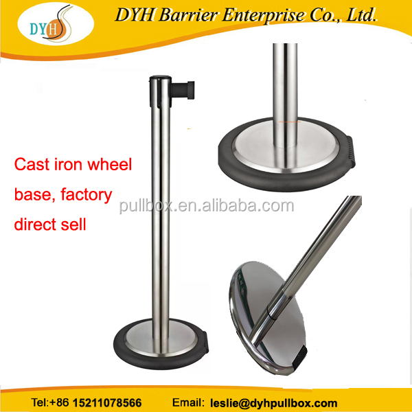 Cast Iron Base wheel retractable belt barrier,stanchion post with wheel