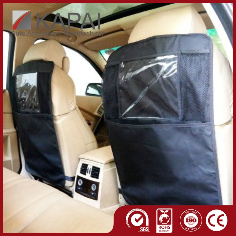 Car Kick Mats Organizer Seat Back Protectors with Clear iPad Tablet Holder