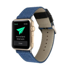 For Smart Watch Band, Fashion Jeans Pattern Genuine Leather Watch Band for Apple Watch