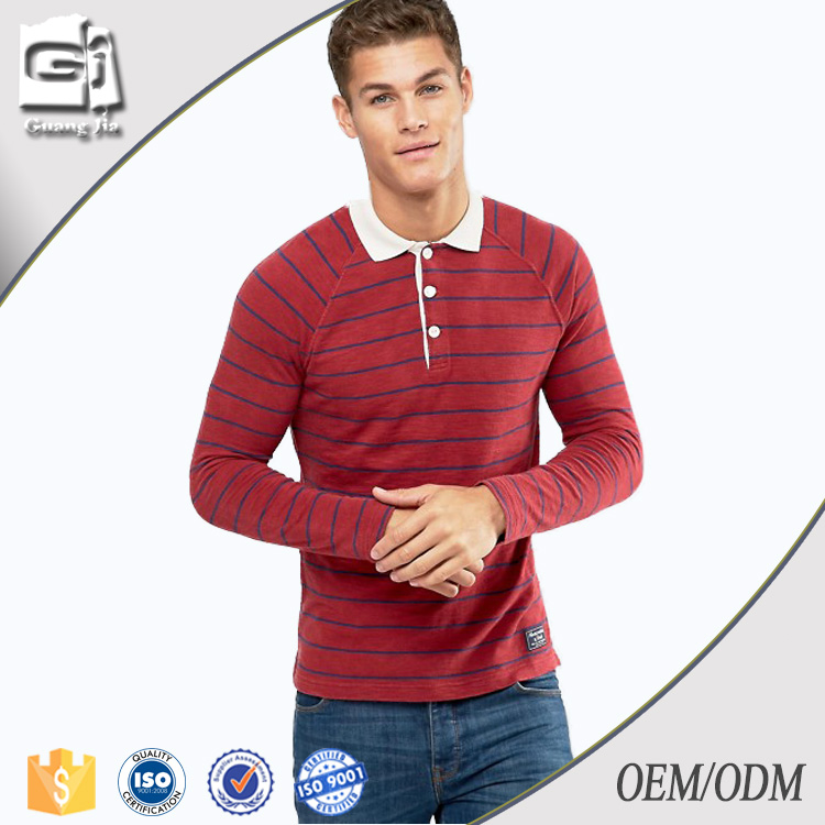 Guangjia Wholesale High Quality 100% Cotton Stripe Sport Polo T Shirt For Men