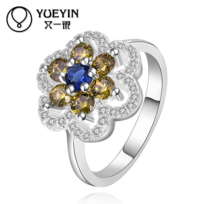 Exquisite Handmade Nickel and Lead Free Flower Shaped 925 Gemstone Ring