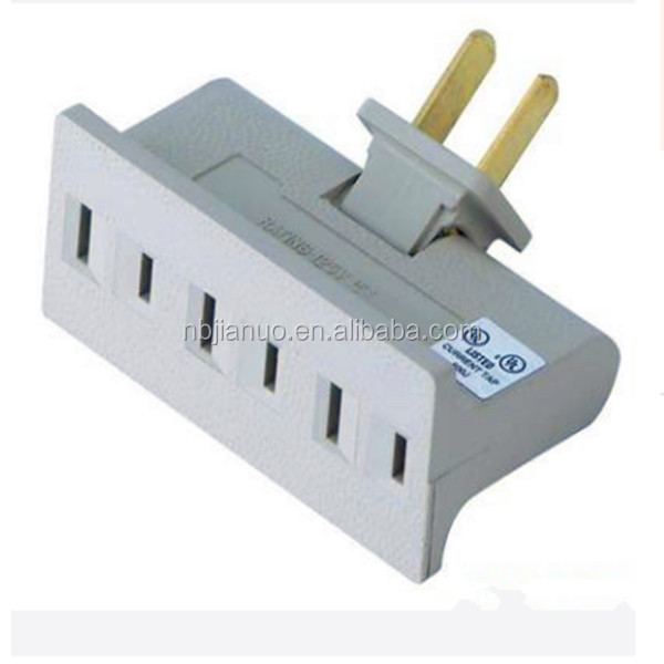Swivel Grounded White Wall Tap 3 Outlet swivel current tap with UL and CUL approval for USA Market,15A,125V