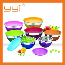 7pcs stainless steel salad bowl set with lid