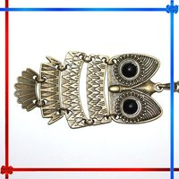 Bronze Cute Owl Necklace With Big Eye Pendant Vintage Necklace