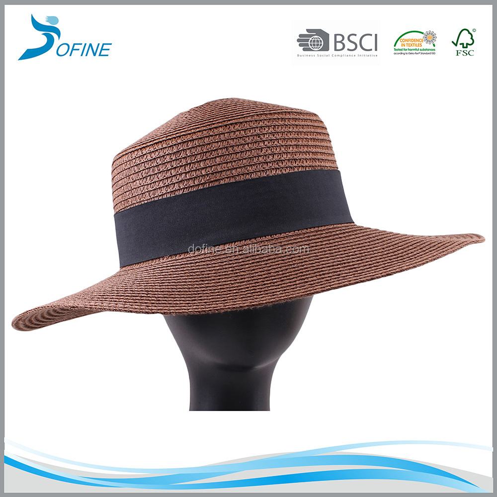 2016 top fashion ladies floppy beach straw hat Summer Sun paper straw hat