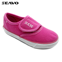 SEAVO SS17 simply peach hook & loop style children slip on vulcanized canvas shoes